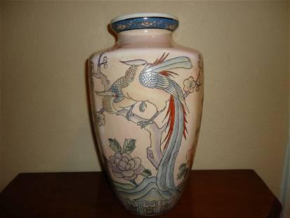 Antique Chinese Macau Porcelain Birds Floral Vase