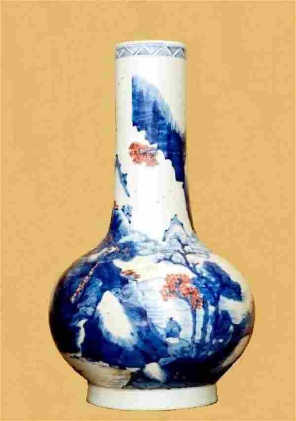 Chinese Qing Sansai Mountain Scenery Vase, Double Ring