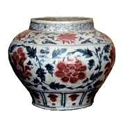 Chinese Ming Period Sansai Floral Vine Jar