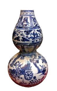 Chinese Ming Blue & White Double Gourd Vase