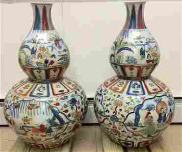 Chinese Pair of Large Doucai Vase, Ming Xuande Mark