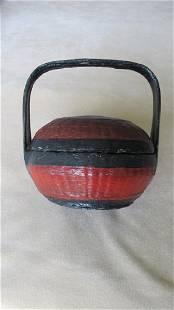 Vintage Chinese Black Red Lacquered Basket
