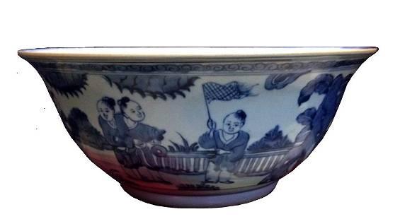 Chinese Qing Period Blue & White Garden Scene Bowl