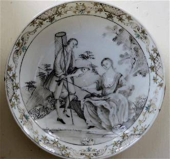 Chinese Export Porcelain Grisaille Plate