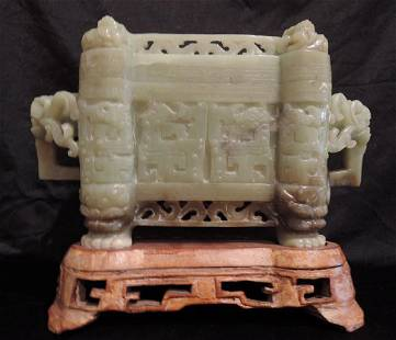 Chinese Green Jade Decorative Box with Stand
