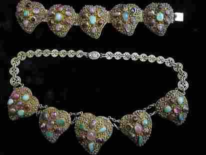 Chinese Multi-stone Enamel Filigree Silver Gilt Jewelry