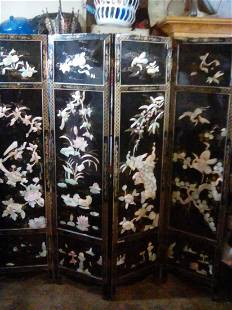 Antique Chinese Black Lacquer Jade Hardstone Screen