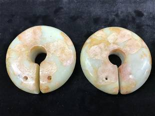 Chinese Qing Dynasty Hand Carved Jade Pair Round Disk