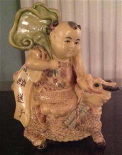Antique Chinese Carved Bone Buddha Riding Elephant
