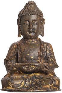 Antique Chinese Ming Bronze Seated Buddha