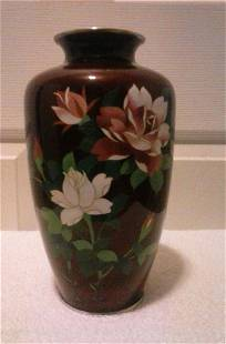 Ando Jubei Cloisonne Red Enamel Vase, 1920