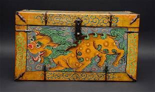 Vintage Tibetan Foo Dogs Elm Wood Chest