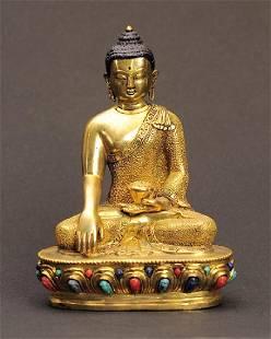 Gold Plate Coral Lapiz Turquoise Buddha Statue