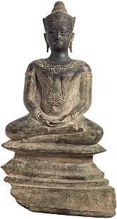 Antique Thai Bronze Seated Buddha