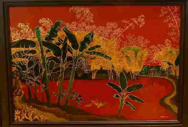 Nguyen Van Binh: Mid Century Lacquer Painting