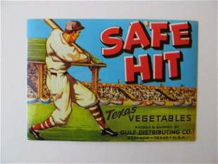 """Safe Hit"" Texas Vegetables Crate Label"
