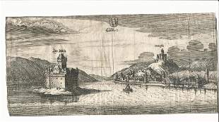 17th Century etching of Laubach in Germany