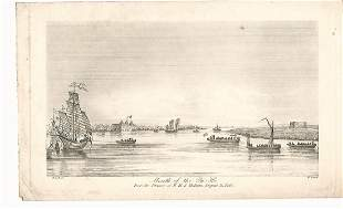 """1840 Steel Engraving """"Mouth of the Pei-Ho"""""""