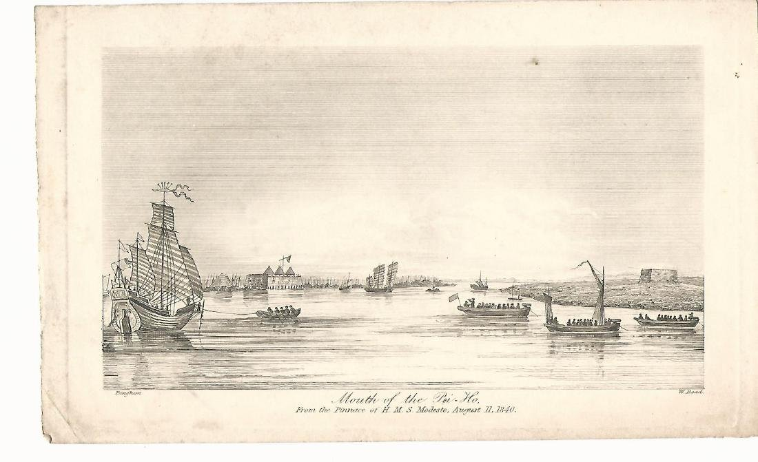 "1840 Steel Engraving ""Mouth of the Pei-Ho"""