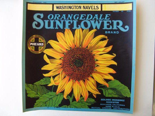 """Sunflower Brand"" Orange CrateLabel"
