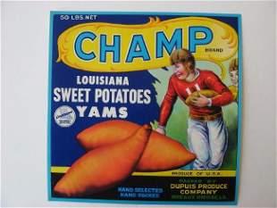 """""""Champ"""" Louisiana Yams Crate Label"""