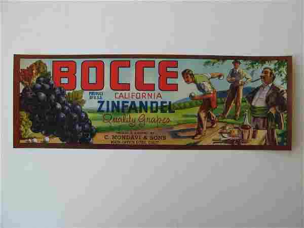 """""""Bocce"""" Grape Crate Label"""