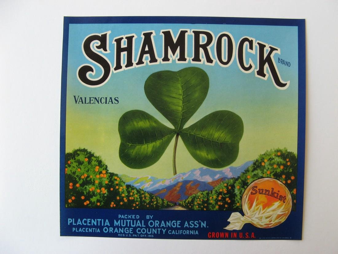 """Shamrock"" Orange Crate Label"