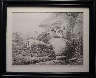 Two Old Master Etchings of Animals & Landscape
