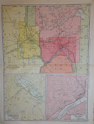 Map of St. Paul, Minneapolis, Rand, McNally & Co. 1898