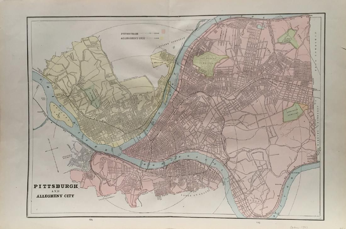 Cram's Map of Pittsburgh (and Allegheny City), 1887