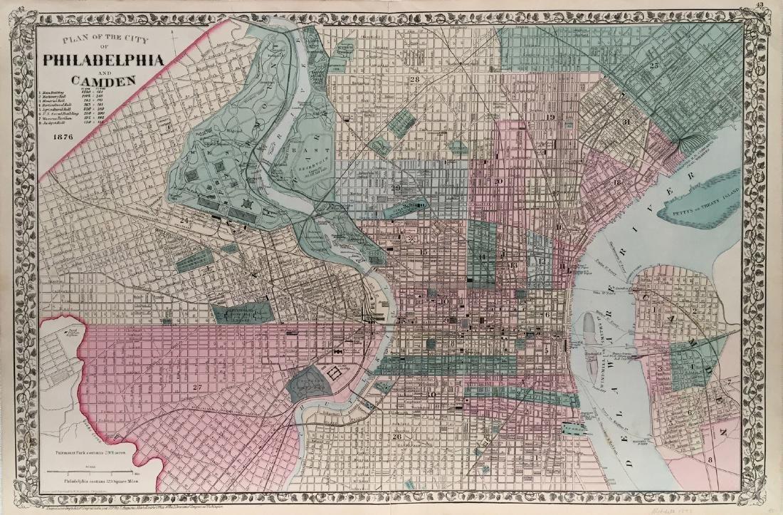 Mitchell: Map of Philadelphia (and Camden), 1887