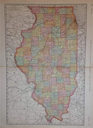 Map of Illinois, Rand, McNally & Co. 1898
