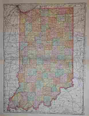 Map of Indiana, Rand, McNally & Co. 1898
