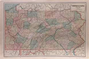 Cram's Map of Pennsylvania, 1883