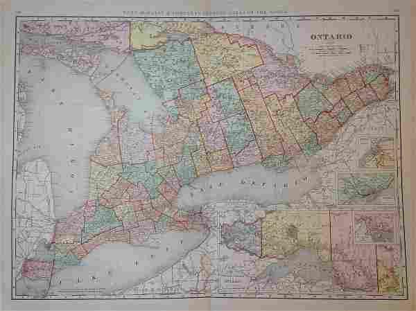 Map of Ontario, Rand, McNally & Co. 1898