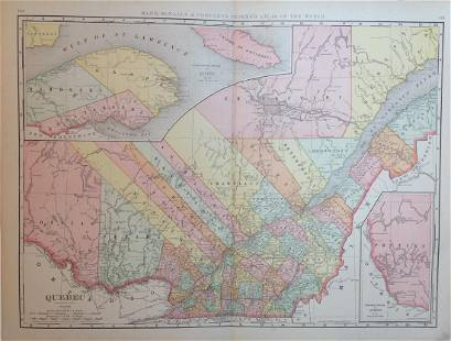 Map of Quebec, Rand, McNally & Co. 1898