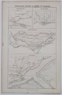 Cities & Ports of Canada Map, 1830