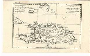1774 Bonne Carte L'Isle St. Domingue & Grandes Antilles