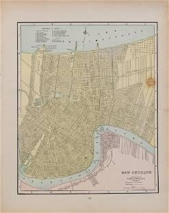 1886 Crams's Map of New Orleans & Atlanta