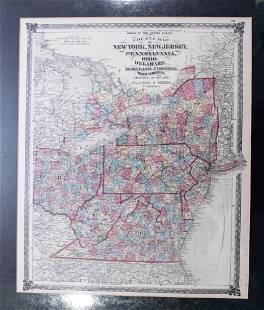 1875 Warner Beers MidAtlantic/Midwest United States Map