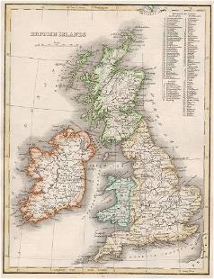 1835 Bradford Map of British Islands