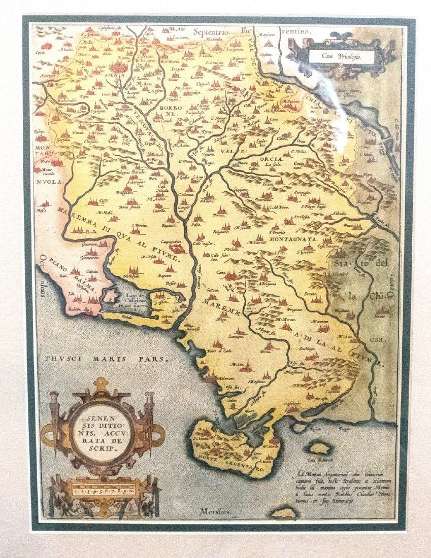 1572 Ortelius Map of Tuscany and Siena