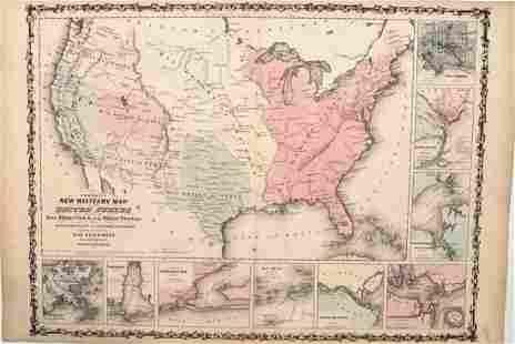 1862 Johnson Civil War Military Map of US