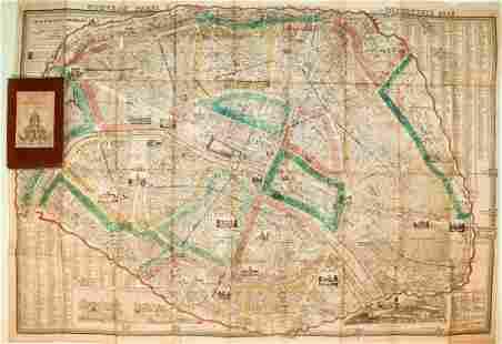 1861 Vuillemin Paris Folding Map