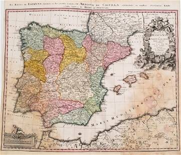 1753 Homann Map of Spain and Portugal