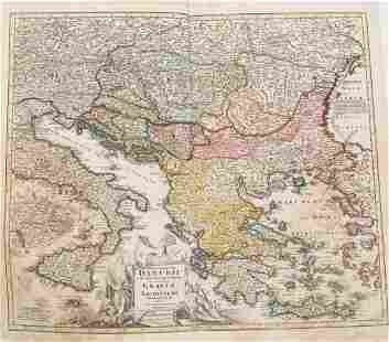 1753 Homann Map Danube and SouthEast Europe