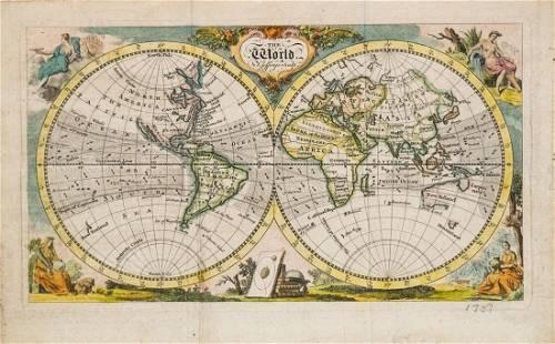 T. Jefferys: Antique Map of the World, 1757