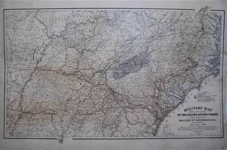 1865 US War Dept Civil War Map of Gen. Shermans Marches