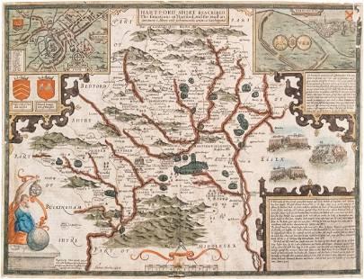 1660 c. Speed Map of Hertfordshire, UK