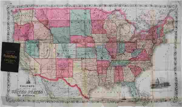 1866 Very Rare Colton Folding Map of the United States